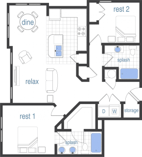 2 Bed / 2 Bath / 1,016 sq ft / Rent: $1,436